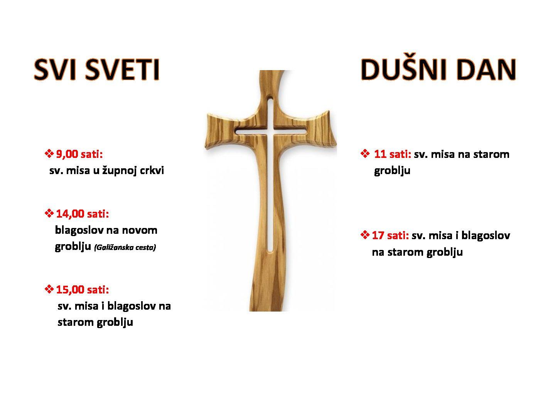 Raspored slavlja za Svi Svete i Dušni dan