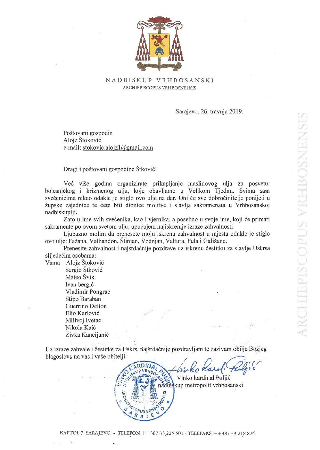 Zahvala kard. Vinka Puljića