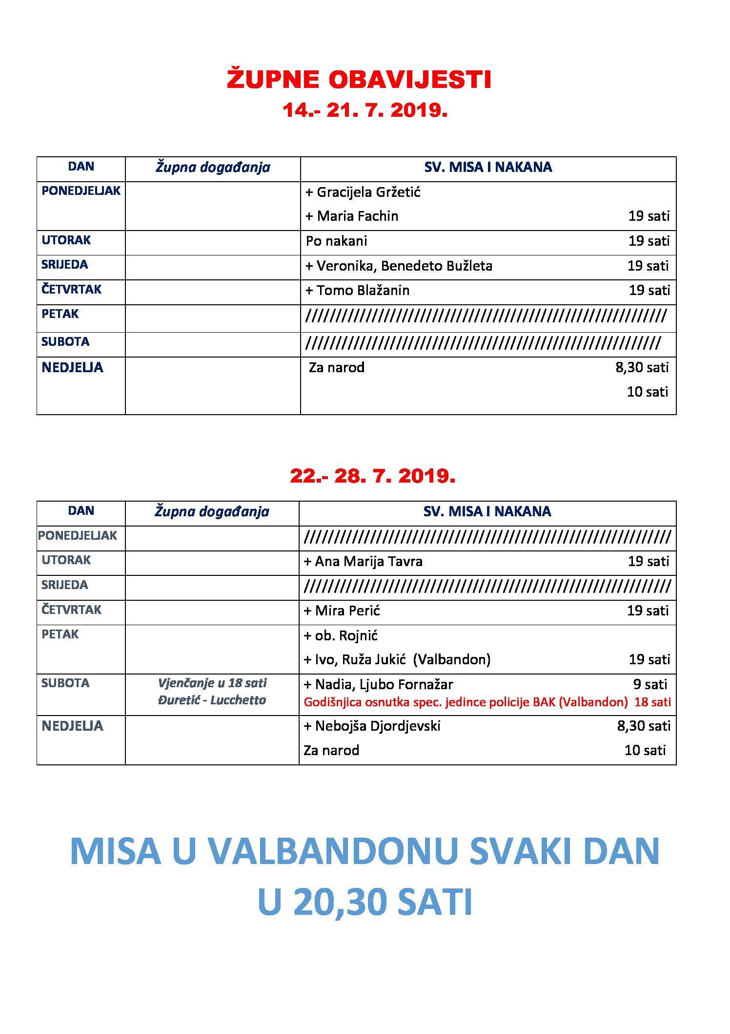 Raspored misa u Fažani od 14.do 28.7.2018.