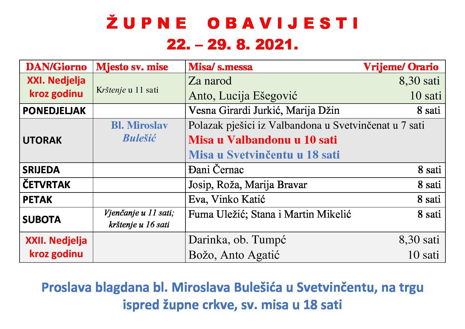 Župne obavijesti 22.-29.8.2021.