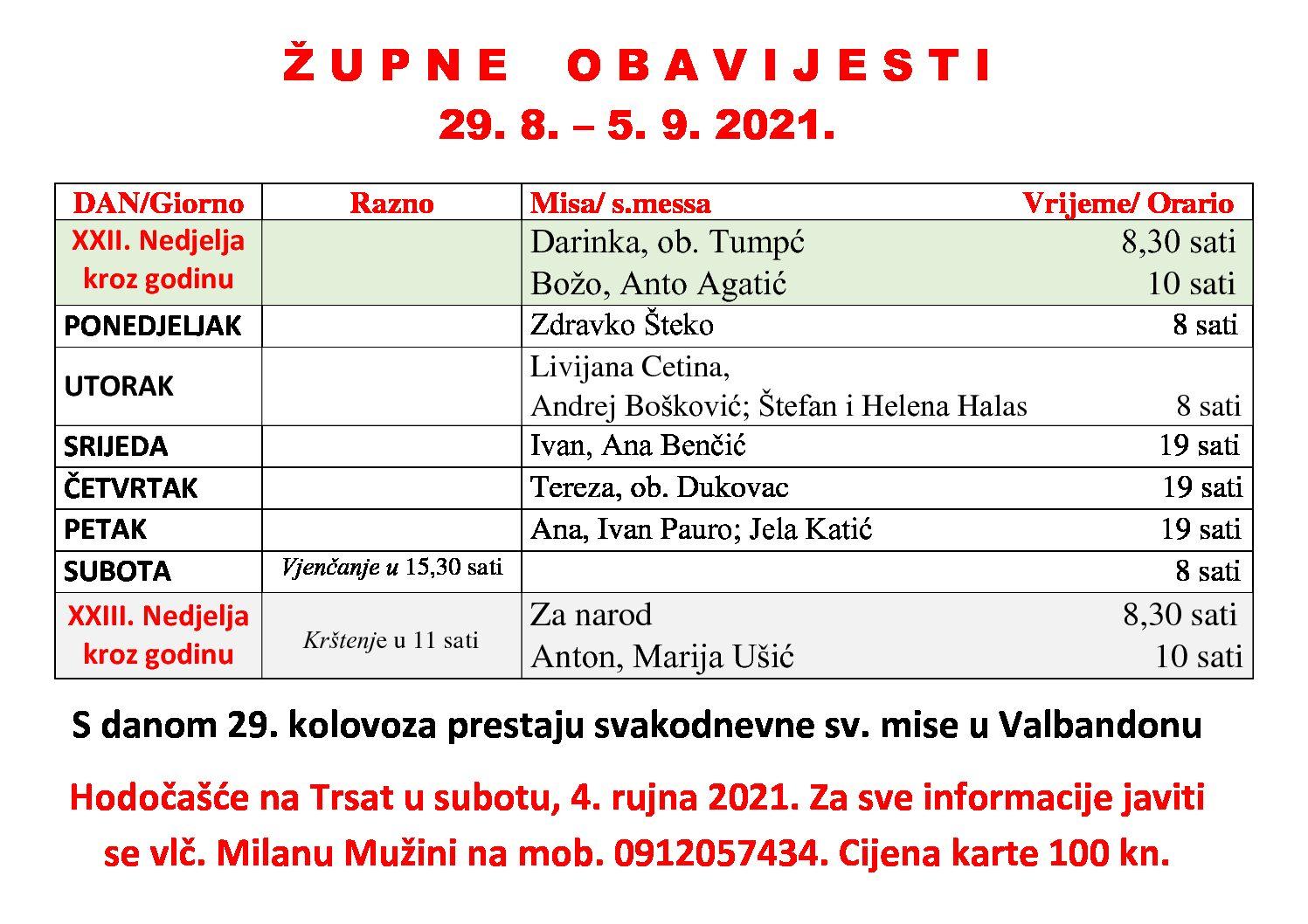 Župne obavijesti 29. 8. – 5. 9. 2021.