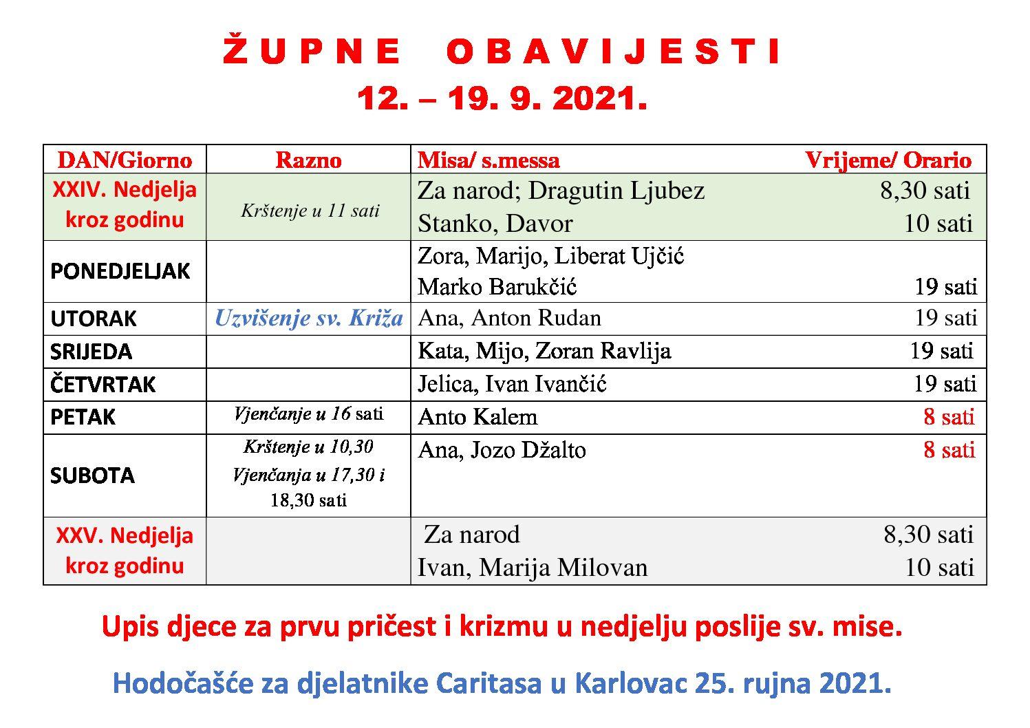 Župne obavijesti 12. – 19. 9. 2021.