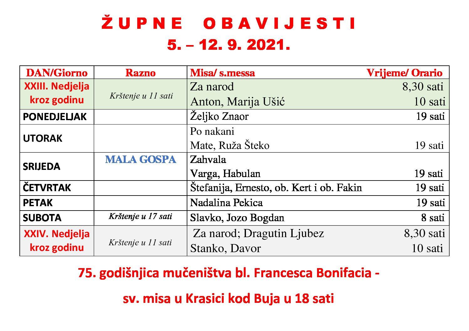 Župne obavijesti, 5. – 12. 9. 2021.