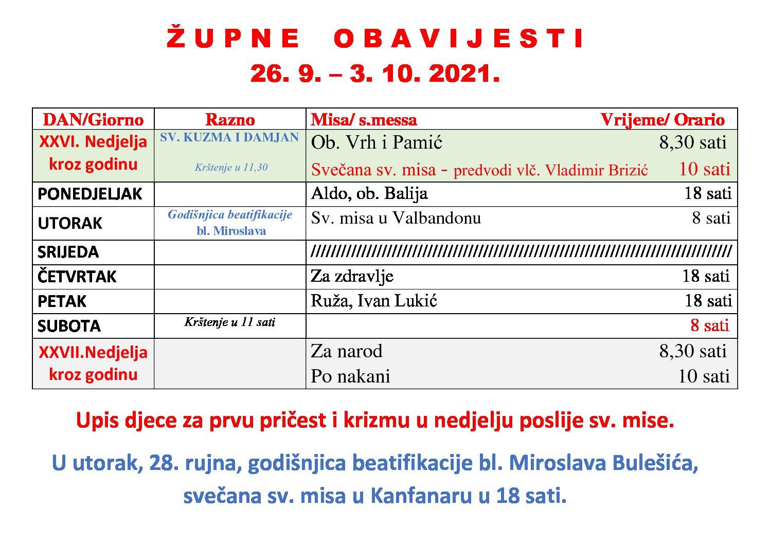 Raspored misnih slavlja u Fažani od 26. 9. do 3. 10. 2021.